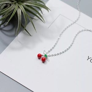 New Sterling Silver Cherry Pendant Necklace